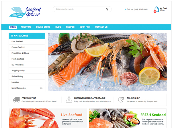 Web Design Seafood Grover